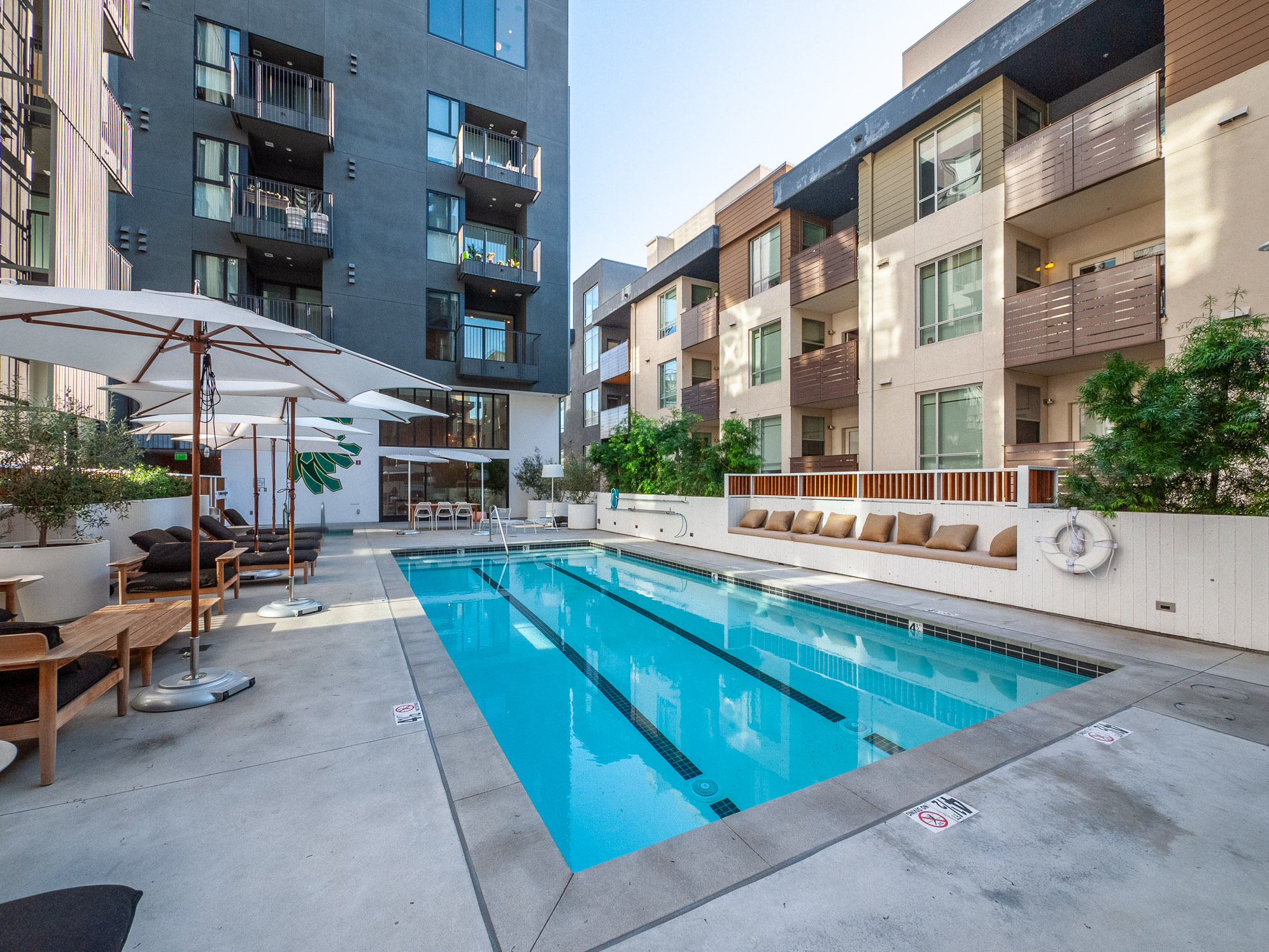 Hollywood architectural apartment at The Line Lofts: Interior Pool View with Large Balcony!